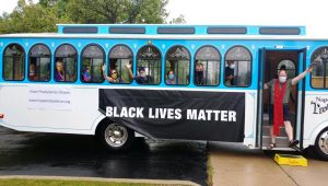 Hope's Solidary Trolley travels through Wheaton.