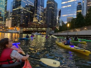 "Lighthouse ""lights up the city"" kayaking on the Chicago River!"
